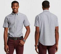 a9b79eb7 NEW Merona Men's Button down Short Sleeve Shirt grey MT LT XXLT XXXLT TALL # Merona