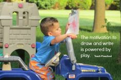 The motivation to write is powered by play! By Teach Preschool