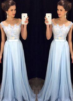 Prom Dresses ,prom gown,Light blue A-line chiffon lace long prom dress, bridesmaid dress by DestinyDress, $188.39 USD