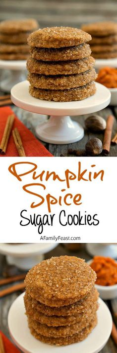 Pumpkin Spice Sugar Cookies - Moist, light and incredibly delicious with a sweet sugar crunch. So good!
