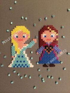 Elsa and Anna - Frozen Perler Bead magnets by HarmonArt2 PerlerTricks