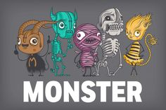 Monster characters Illustrated by Drew Millward