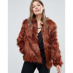 Goldie Faux Fur Jacket (129 AUD) ❤ liked on Polyvore featuring outerwear, jackets, orange, orange jacket, collarless jackets, tall jackets, fake fur jacket and pocket jacket