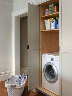 Laundry room cabinets give you more storage and style out of your washer-dryer space. Design smart laundry room cabinetry with our helpful tips. Laundry Shelves, Laundry Room Doors, Laundry Room Remodel, Laundry Room Cabinets, Laundry Closet, Laundry Room Organization, Small Laundry, Small Shelves, Laundry Room Design
