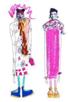 Week5 / MIXED MEDIA / Elyse Blackshaw (Manchester UK) / The stylization of the figures, and the usage of colour of bright pinks and purples intrigues me. The elongated bodies adds an signature feature of the drawing.