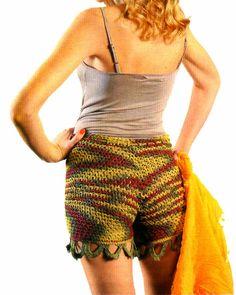 tejidos artesanales en crochet: short con puntilla tejido en crochet