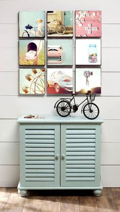 adorable photo wall. would be fun with a mix of their close ups.   love the cabinet too. good for storage and perfect size for a nightstand/dresser.