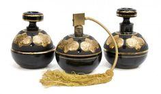 (3) DRESSER SET, ATOMIZER, BLACK & GILT GLASS