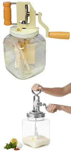 Want to make your very own fresh butter and even cheese and yogurt in the comfort of your own kitchen? Then check out this cool new yet definitely old-fashioned Dairy Churner.
