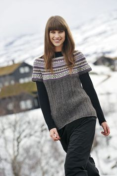 good combo of pattern and cables Oven Design, Hand Knitting, Vest, Turtle Neck, Pullover, Crochet, Pattern, Sweaters, Inspiration