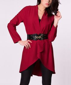 Look what I found on #zulily! Burgundy Open Jacket #zulilyfinds