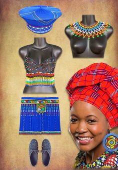 Traditional African clothing and jewelry handmade in South Africa. Zulu Traditional Attire, Traditional African Clothing, African Attire, African Wear, African Dress, South African Tribes, African Crafts, African Fashion Designers, African Artists