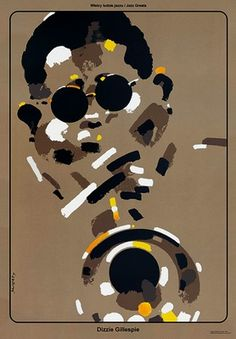 Dizzie Gillespie from the Jazz Greats series Original Polish jazz poster poster designed in 1998 and published in 2015 designer: Waldemar Swierzy year: 2015 size: