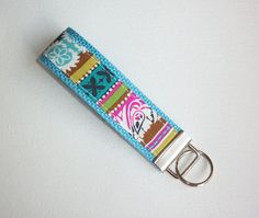 Chevron Key FOB / KeyChain / Wristlet   boho stripe blue by Laa766, $6.50  fabric / preppy / wristlet