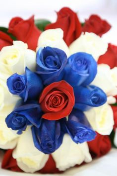 My Bridal Bouquet, red white and blue Red Wedding Flowers, Purple Wedding, Wooden Roses, Wedding Themes, Wedding Ideas, Red White Blue, Beautiful Roses, Bouquet, Bridal