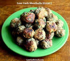 Low Carb Baked Meatball Recipe (OAMC) @ LowCarbCrock.com