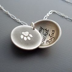 Silver Paw Print Personalized Necklace (with Maggie & Bender's names inside)