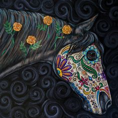 Day of the Dead Original Horse Painting Dia by gypsymarestudios this would make an incredible tattoo!!