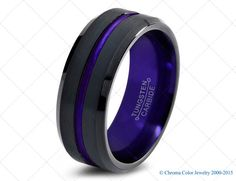 Mens Wedding Band,Black Purple Tungsten Ring,Black Wedding Bands,Colored Rings,6mm,8mm,Anniversary,Brushed,Bevel
