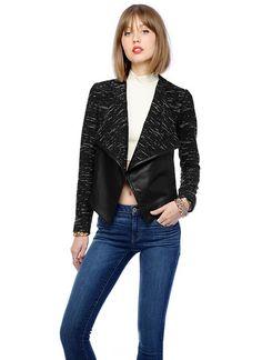 "Melange stripe tweed jacket with contrast vegan leather lapels. Fully lined. No closures. 25 3/4"" length."