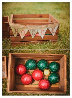 bocce ball lawn game.. love the display.. will make small stakes to mark the area where the game can be played too!