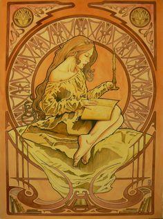 Art Nouveau Girl 4  Titled: The Candelight Reader by El-Barbudo96.deviantart.com on @deviantART