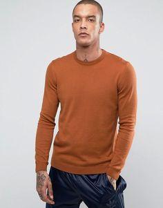 ASOS Cotton Sweater in Dark Tan - Tan