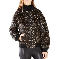 Bcbgmaxazria Brice Leopard Print Bomber Jacket (€185) ❤ liked on Polyvore featuring outerwear, jackets, leopard print jacket, leopard jacket, bomber jacket, camel jacket and lined bomber jacket