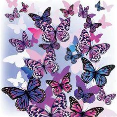 Pink, blue & purple butterflies