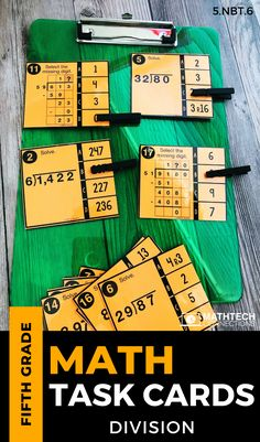 Review long division with these 5th grade math ask cards. They are part of a game set that includes 3 activities to use during math rotations. #mathgames #mathcenters #mathtaskcards #taskcards