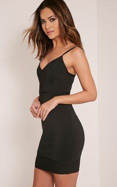 Emily Black Premium Strappy Bandage Bodycon Dress - Dresses - PrettylittleThing   PrettyLittleThing