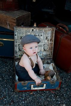 ( Photographer: Elise Aileen Photography. eliseaileen.com ) Baby photos. 6 Month pictures Baby Boy Train Tracks Vintage Mother Steampunk Victorian Edwardian Suspenders Hat Suitcase Trunk Ideas Creative Inspiration
