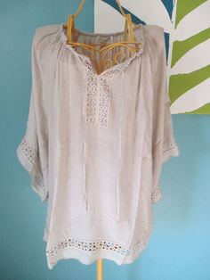 Dressbarn Beige Gauzy Peasant Top sz XL Extra Large Boho Romantic Sheer NEW NWOT #dressbarn #Blouse #Casual