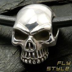 Totenkopf Edelstahl Anhänger Keith Richards biker gothic skull silber rock metal