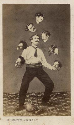 1860's European carte de visite of a man juggling his own head