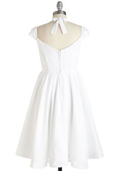 Ladylike a Dream Dress. When it comes to elegant simplicity and romantic charm, this white midi dress fulfills your reverie wish. #white #modcloth