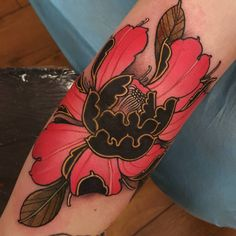 Elbow peony in hot pink, black, and gold by Elliott Wells, UK