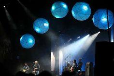 stage decor ~ giant blue lanterns
