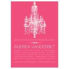 chandelier invitation | bridal shower invitations - Pink Chandelier by Splendid Press