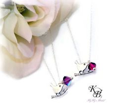 Sterling Silver Bird Necklace, Flower Girl Jewelry, Birthstone Necklace, Bird Necklace, Flower Girl Gift, Flower Girl Necklace | KyKy's Bridal, Handmade Bridal Jewelry, Wedding Jewelry