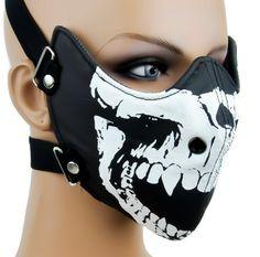 Dysfunctional Doll Death Skull Motorcycle Face Mask : Masks