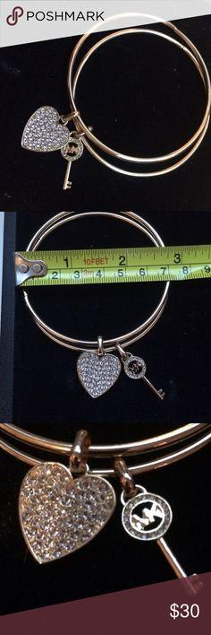MK Gold Crystal Bangle Bracelet Heart & Key Charms MK Gold & Crystal Double Bangle Bracelet Heart & Key Charms Michael Kors Michael Kors Jewelry Bracelets