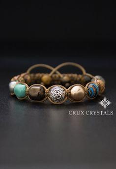 LIMITED EDITION, Beaded Bracelet, Women's Shamballa Bracelet, Swarovski, Natural Stone, Om Karma Bead - Swarovski Pearls, Jasper, Tigers Eye