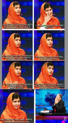 Malala reiterates the importance of always acting with peace, love, and understanding that education women is the solution not the problem.