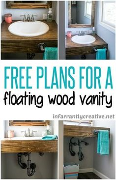 Floating Wood Bathroom Vanity DIY // How to make your own custom bathroom sink and counter top. Perfect for a small or awkward sized space! Floating Bathroom Vanities, Bathroom Vanity Makeover, Bathroom Vanity Tops, Wood Bathroom, Bathroom Furniture, Bathroom Ideas, Master Bathroom, Modern Bathroom, Floating Vanity