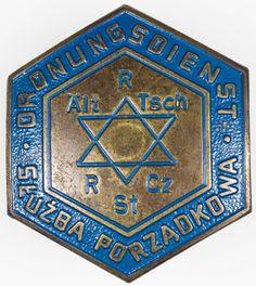 WARSAW GHETTO JEWISH POLICE HAT BADGE On