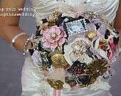 Brooch Bouquet with family picture  Original Design by Debbie @ topthiswedding.com