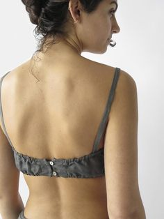 seamed linen bra with buttoned adjustable straps, elasticated back, and double button loop closure. made in san francisco. hand wash cold and dry flat. erica tanov also available in opal and petal. shown here with the stevie tap pant. Bralette Pattern, Bra Pattern, Cute Bras, Cute Lingerie, How To Make Clothes, Diy Clothes, Indian Fashion Dresses, Fashion Outfits, Underwear Pattern