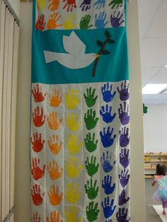Peace quilt I made with my student's handprints.