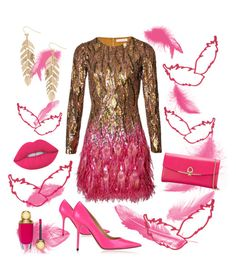 """""""Feathers"""" by diane-randle on Polyvore featuring Matthew Williamson, Jimmy Choo, Salvatore Ferragamo, Lime Crime, Christian Dior and Humble Chic"""